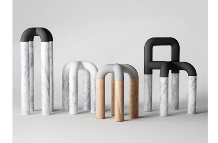 """First prize Salone Satellite Award, <a href=""""https://www.pistacchi-design.com/""""target=""""_blank"""">Pistacchi Design</a>, Taiwan: """"Comma is shaped as a modern sculpture in contrasting materials to draw people's attention, and the soft and curvy design invites them to naturally lean on it to take a break."""""""