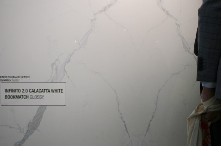 """""""Infinito 2.0"""" is the name Fondavalle producer of engineered stone has given to its collection. One of the products is """"Calacatta White"""" (Cersaie trade fair 2017)."""