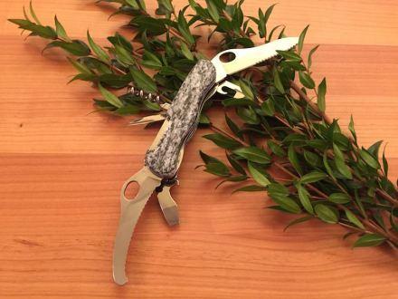 Einer der Gewinne ist ein Bündner Jagdmesser mit Griffschale aus Calanca Gneiss. Foto: ProNaturstein