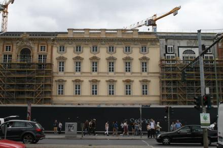 Teil der künftigen Fassade des Humboldtforums im neuen Berliner Stadtschloss. Foto: Juni 2017
