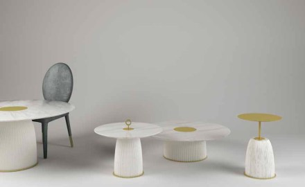"<a href=""http://www.paolocastelli.com/""target=""_blank"">Paolo Castelli</a>: ""Dione"" coffee tables and table with base in ceramic and plate in Calacatta marble."