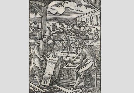 Steinmetze bei der Arbeit, Ständebuch 1568. Quelle: Deutsche Fotothek / Wikimedia Commons