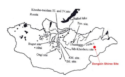Conventional map showing places of ancient Turkic inscriptions and ruins on the Mongolian Plateau.