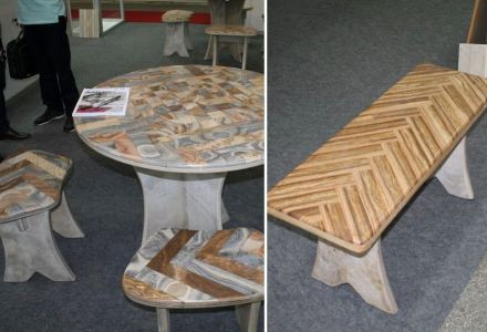 Table in Pedra Cairi Limestone and matching benches.