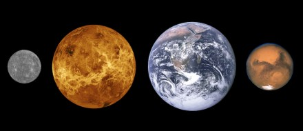 The terrestrial planets of the Solar System: Mercury, Venus, Earth, and Mars, sized to scale. Source: Wikimedia Commons