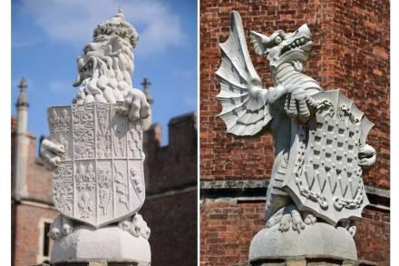 Die King's Beasts vor dem Hampton Court Palace. Fotos: Philip Halling (links), Duncan Harris (rechts) / Wikimedia Commons