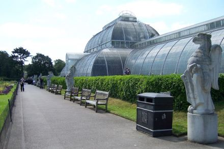 Copies of the Queen's Beasts in front of the Palm House at Kew Gardens.