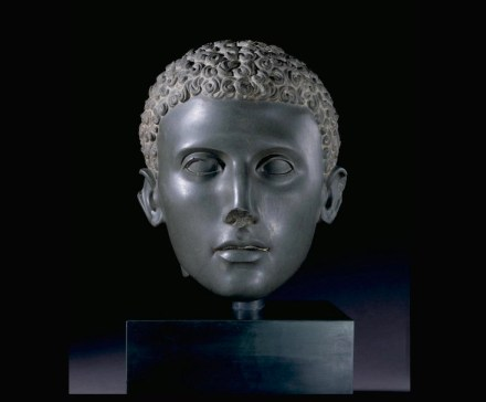 Head of a man, unknown artist about 100–75 B.C., Egyptian, Ptolemaic, Siltstone, Object: H: 24.2 x W: 20 x D: 23.1 cm (9 1/2 x 7 7/8 x 9 1/8 in.). The Trustees of the British Museum.