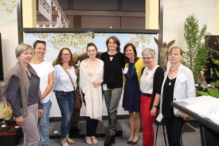"Meeting of women from the stone sector at Stone+tec fair 2018: (f.l.t.r) Ulrike Grebe-Velte, Angelika Marchner, Christiane Köpler, Magdalena Schönwetter, Sylke Lambert, Monica J. Gawet, Eva Maria Wolfer, Heide Schöne. Photo: Bärbel Holländer, ""Naturstein"" magazine"