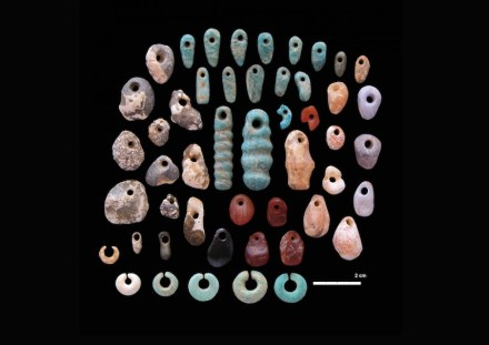 Stone pendants and earrings from the communal cemetery of Lothagam North, Kenya. Photo: Carla Klehm