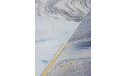 "Coffee table ""Gold 120"". Design: Ronaldo Barbosa: company: Brasigran; quartzites Azul Imperial and marbles Lumen and Super White Premium."
