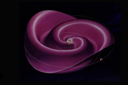 The Sun's magnetic field, which is embedded in the solar wind, permeates the entire solar system. The current sheet - where the magnetic field changes polarity - spirals out from near the solar equator like a wavy skirt around a ballet dancer's waist.