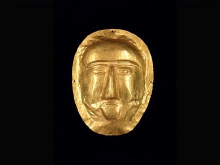 Burial mask, 1-100 CE, Saudi Arabia, Eastern Province, Thaj, Tell al-Zayer, Gold, Riyadh, National Museum.