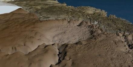 Die Topograhie unter dem Hiawatha-Gletscher.