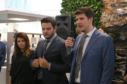Grupo Guidoni press conference at Marmomac 2017: (f.l.t.r.) Verônica Petrópolis, Marketing, Rayner Guidoni, Vice-president, and, Rafael Guidoni, CEO.