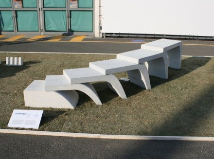 DORSALE is an urban furniture element designed to obtain volume from a reduced quantity of material, without waste. From a block of dimensions 80x50x150cm, thanks to a series of eccentric cuts, we have obtained a structure that develops in length up to a maximum of 3.83 linear meters. The components can be positioned according to different configurations, thus obtaining a dynamic and playful structure, which can be used by different types of users and can be interpreted as desired.