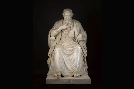 """Saul under the Influence of the Evil Spirit"", William Wetmore Story, modeled 1858–63; carved 1864–65, marble with original marble base in three sections, H. 64 x W. 34 x D. 64 1/2 in; base: H. 34 1/2 x W. 39 1/4 x D. 68 3/4 in., North Carolina Museum of Art."