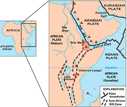 """The African rift valley in its complete extension. Source: USGS / <a href=""""https://commons.wikimedia.org/""""target=""""_blank"""">Wikimedia Commons </a>"""