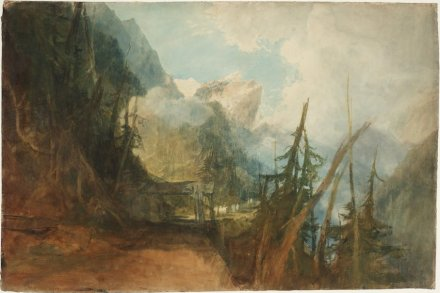 Joseph Mallord William Turner, The St Gotthard Road between Amsteg and Wassen, Looking up the Reuss Valley, ca. 1814/15, Gouache, Graphit und Aquarell auf Papier, 67.5 x 101 cm, © Tate, London, 2019.