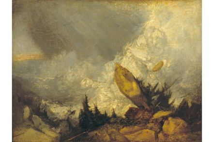 Joseph Mallord William Turner, The Fall of an Avalanche in the Grisons, ca. 1810. Öl auf Leinwand, 135 x 166 cm, © Tate, London, 2019.
