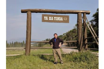 Lead author Drew Muscente at Ya Ha Tinda Ranch in Alberta, Canada. The exceptional fossil deposit is located on the property.