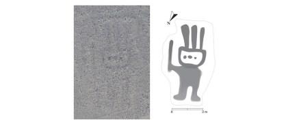 Geoglyphen-Foto (links) und nach Bearbeitung mit der Künstlichen Intelligenz von IBM.