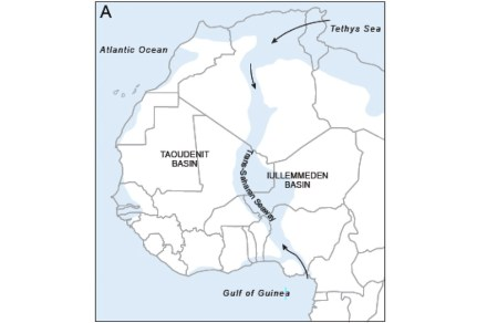 Today's West Africa 50 to 100 million years ago.