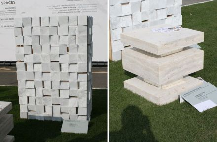 "University of Rome La Sapienza: ""Stone Silence, acoustic façade panel"" (left), ""Suspended Stone, marble stool""."