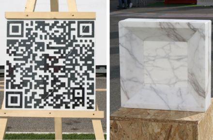 "University of Rome La Sapienza: ""Talkin Stone, by QRcode"" (left), ""Marble Glass Block, Pietracemento""."