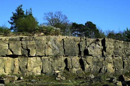Typisch und namensgebend für den Quaderkalk sind die rechtwinkligen Klüfte. Foto: LfU / Georg Loth