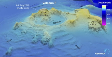 "Visualization of Volcano ""F"" using older bathymetric data. Graphic: Philipp Brandl/Geomarr"
