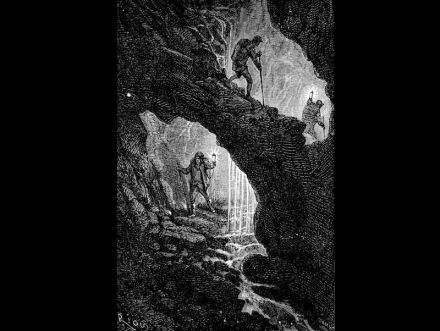 """Creeks and rivers, even oceans should be existing deep down in the Earth, according to Jules Vernes in his phantasy novel. Drawing: Édouard Riou (1833-1900) / <a href=""""https://commons.wikimedia.org/""""target=""""_blank"""">Wikimedia Commons</a>"""