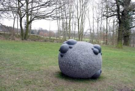 "Sibylle Pasche: ""Genesis"", Kilkenny Blue Limestone, 80 x 100 x 100 cm."
