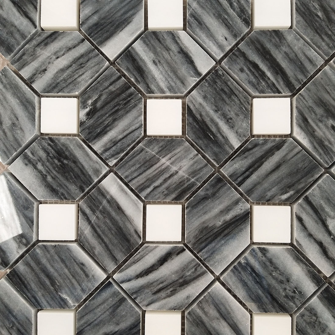 black and white marble mosaic floor
