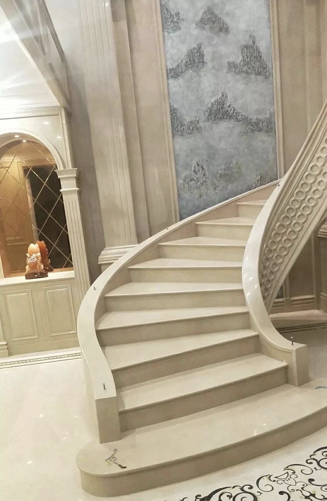 Manolya Bej Mermer Step Tiles Staircase Wall Tiles Stair And Steps | Stairs Wall Tiles Design | Main Entrance Wall Tile | Exterior | Two Story House Stair | Wall Flat | Residential