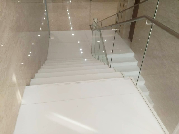 Super Nano Crystallized Glass Stone White Stairs Crystallized Glass | White And Glass Staircase | Before And After | American White Oak | Luxurious | High End Glass | White Handrail Treads