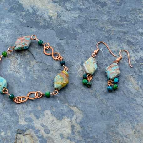 EK01012 Imperial Turquoise and Copper Bracelet and Earrings 2