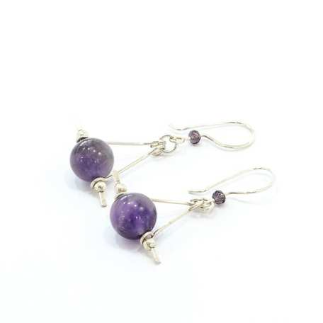 EK01032 Sterling Silver and Amethyst Triangle Earrings (long version)