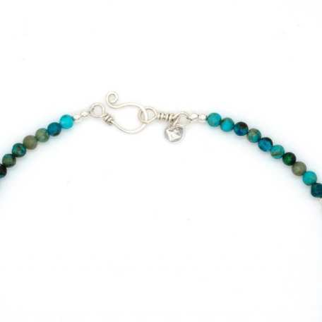 EK01131 African Turquoise Beaded Necklace with Pendant White Clasp_031220