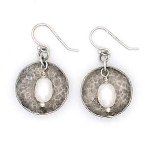 Rustic Domed Sterling Silver & Freshwater Pearl Earrings