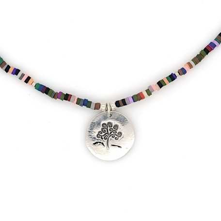 Dainty Tree of Life made with Sterling Silver Pendant and 2mm Multi-Colored Clay Beads