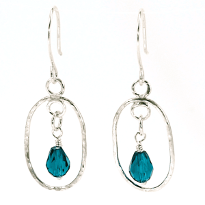 Sterling Silver and Teal Oval Earrings