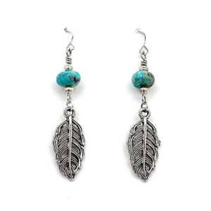 Silver Feather and Turquoise Earrings
