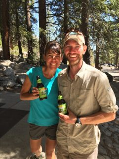 Celebratory beer at Whitney Portal Store