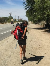 Hiking along the highway in Lone Pine