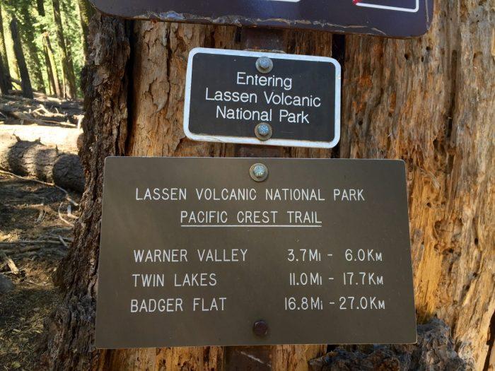 Sign marking boundary of Lassen Volcanic National Park