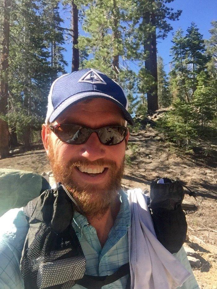 Mountain Man selfie leaving Reds Meadow