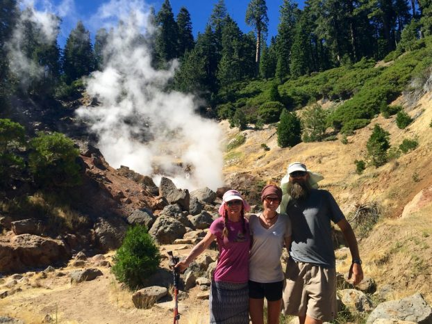 Sweet Pea Gazelle and Beardoh at a steam vent in Lassen Volcanic NP