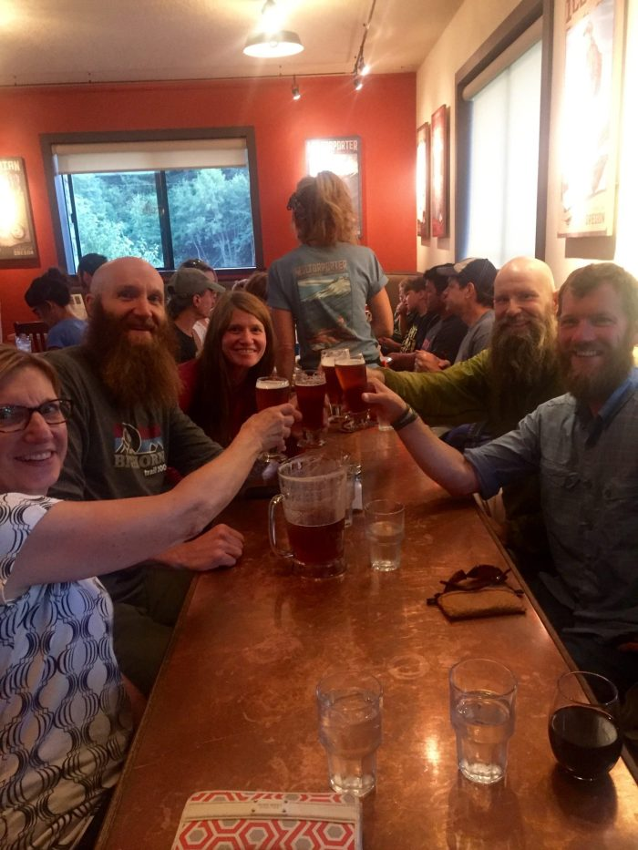 A dinner toast at Mount Hood Brewery