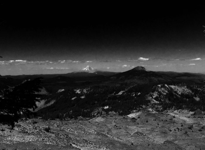 Looking out into the distance and the first view of Mt. Hood